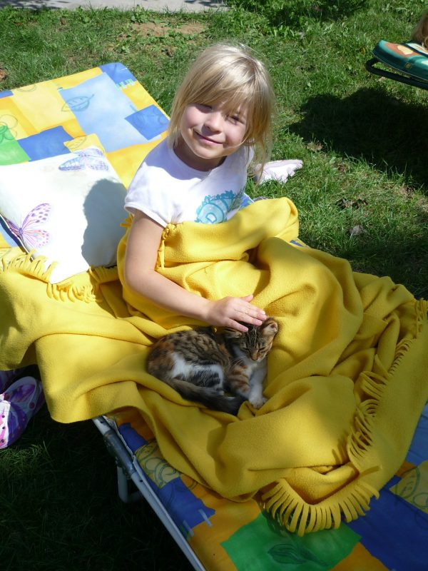 a little girl on her yellow blanket rubbing her tiny kitten beside her