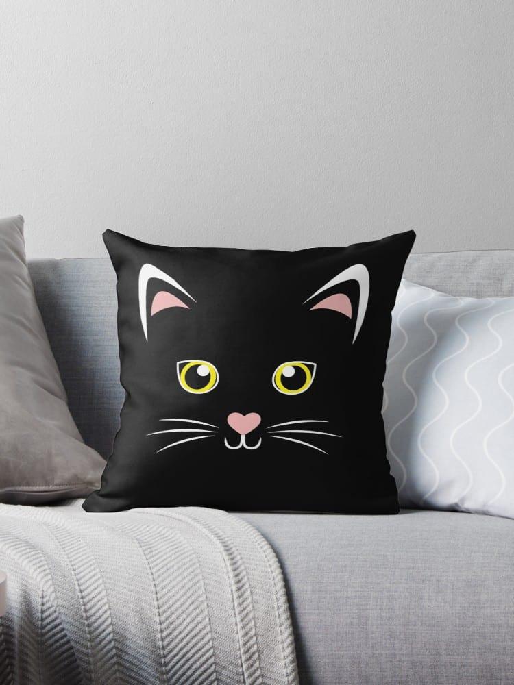 Black Cat Face Throw Pillow