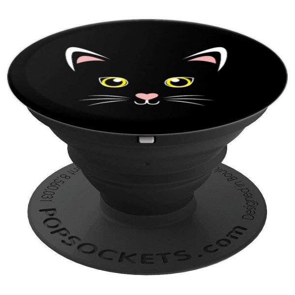 Cute Halloween Black Cat with Ears PopSockets for cat lovers