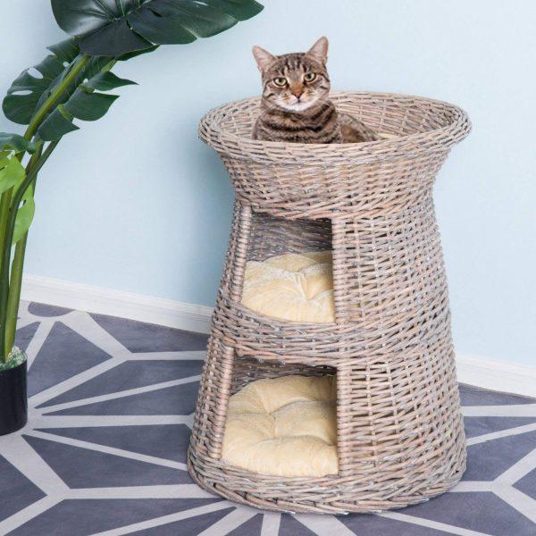 PawHut Rattan Wicker Cat Bed