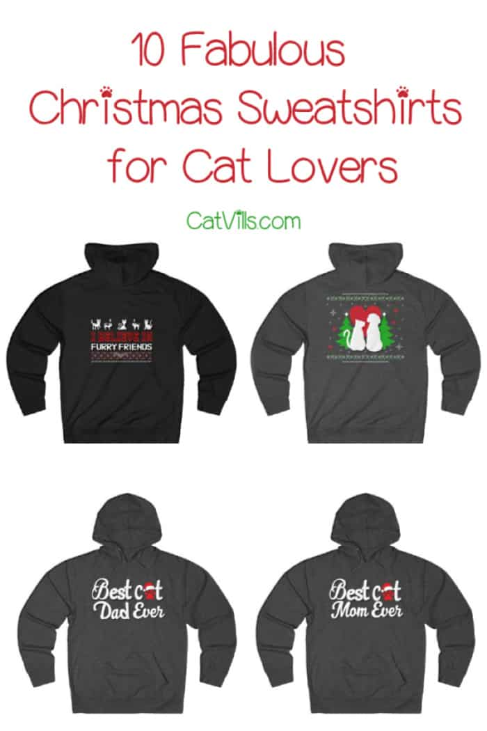 Show off your pet parent pride this holiday season with these adorable Christmas sweatshirts for cat lovers! Check them out!