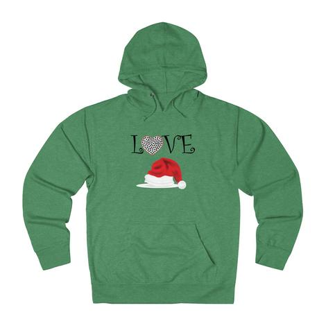 Love With A Heart-Filled Paw & A Christmas Hat hoodie