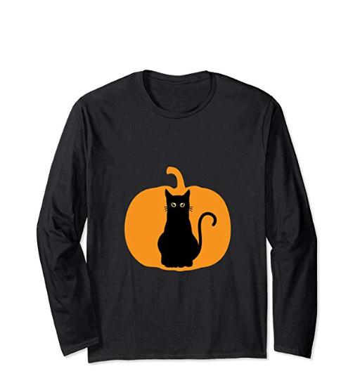 black cat halloween long sleeve shirt