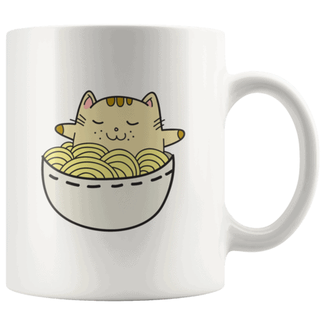 Adorable Kawaii Japanese Anime Cat in a Ramen Bowl Funny Cat Mugs