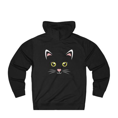 Cute Black Cat Anime Face with Ears Hoodie