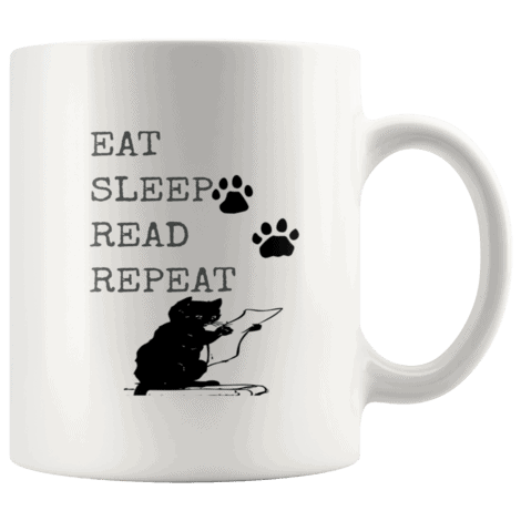Eat Sleep Read Repeat Funny Mugs for Cat Lovers