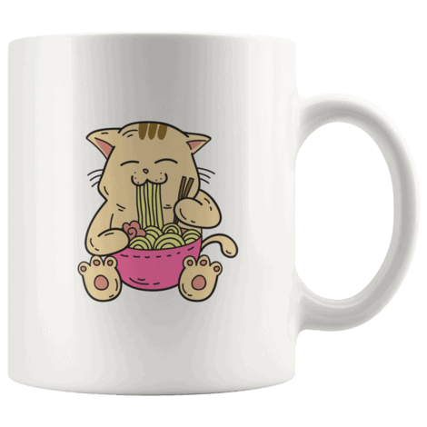 Cute Kawaii Japanese Anime Cat Eating Ramen in a Pink Bowl