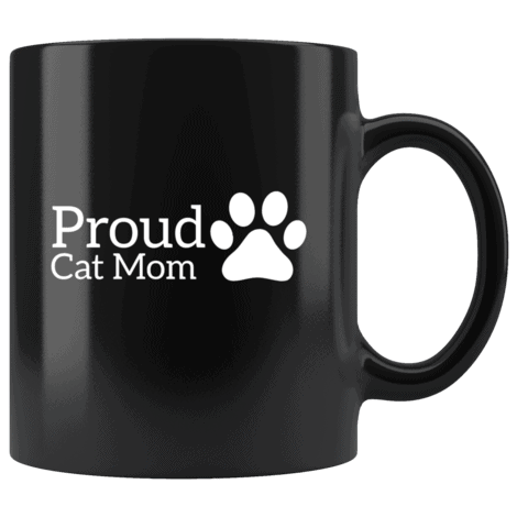 Cute Proud Cat Mom Coffee Mug With A Paw Print On The Side