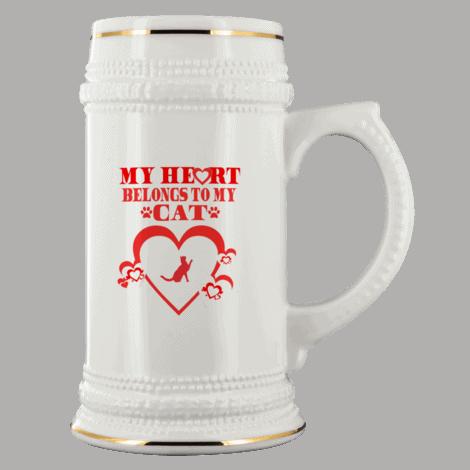 My Heart Belongs To My Cat White Ceramic Beer Stein Mug