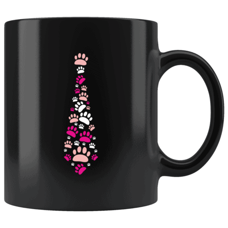 Dog Paw Print Tie Coffee Mug: Funny Valentine's Day Gift For pet Lovers