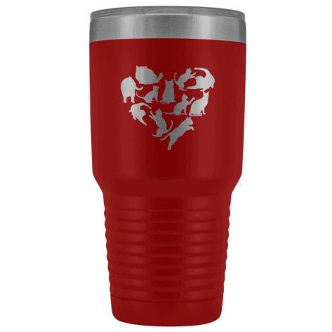 Heart with Cats 30oz Double Walled Stainless Steel Tumbler
