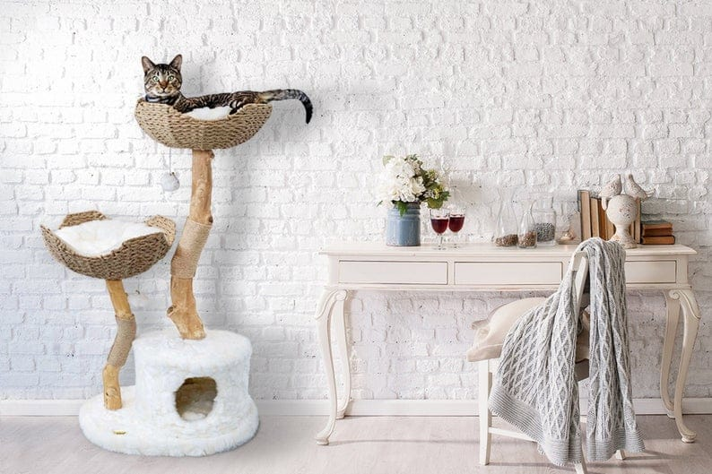 Wood Cat Tower Tree with bed