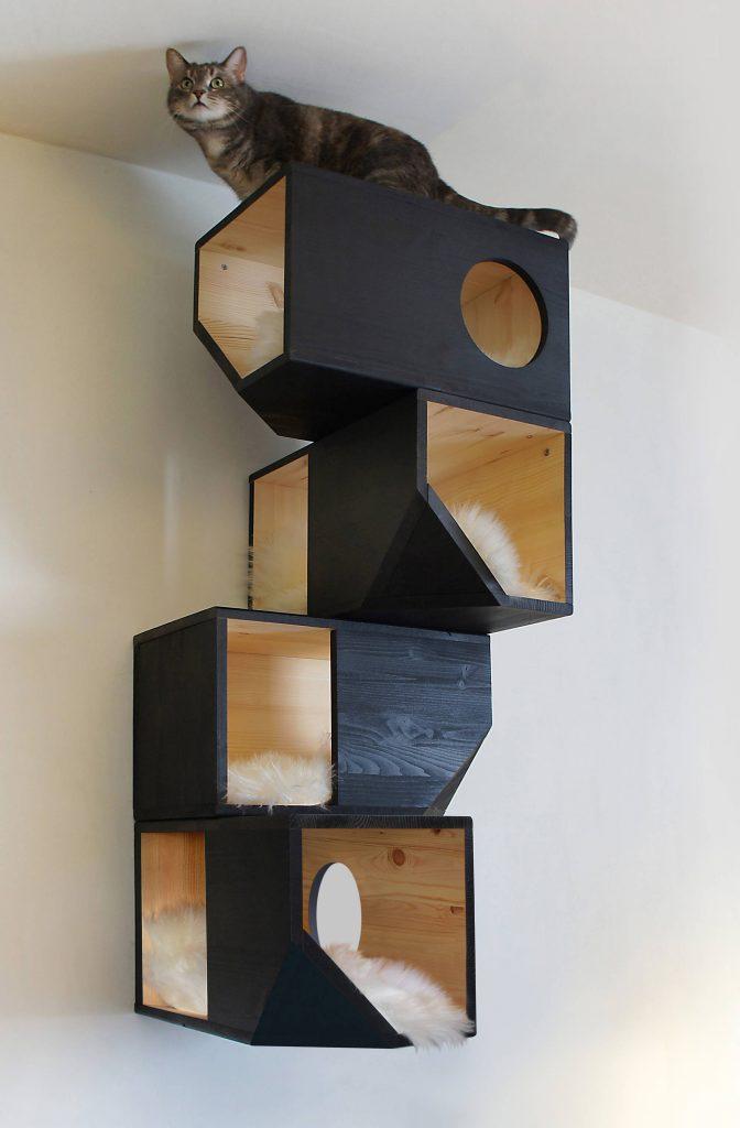 Black Catissa Modular Cat House