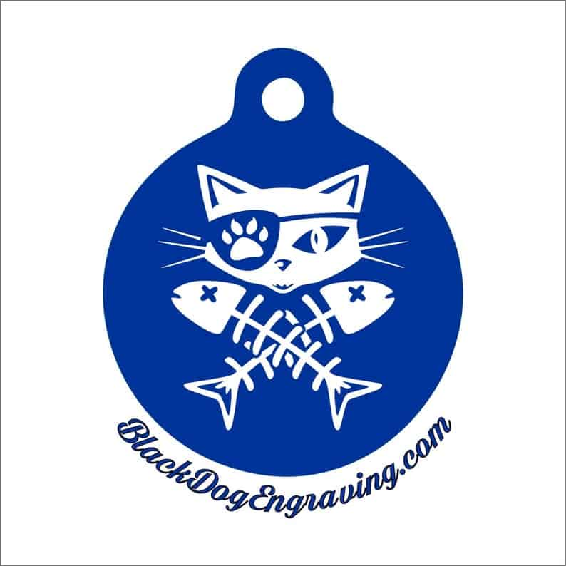 BlackDogEngraving Pirate Cat Skull and Crossbones Pet Tag