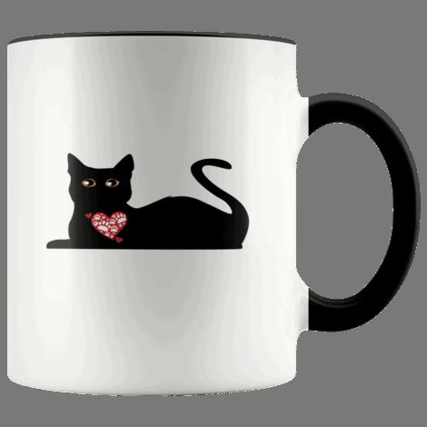 Black Cat With Heart Coffee Mug