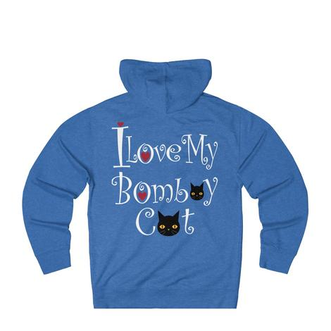 Cute I Love My Bombay Black Cat Hoodie With A Heart
