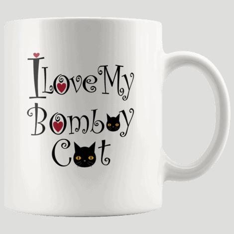 Cute I Love My Bombay Black Cat Mug