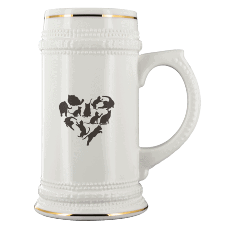 Heart With Black Cats White Ceramic Beer Stein Mug