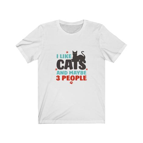 I like cats and maybe 3 people: Funny T-Shirt For Black Cat Lovers