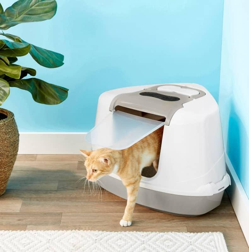 Frisco Flip Top Hooded Corner Cat Litter Box