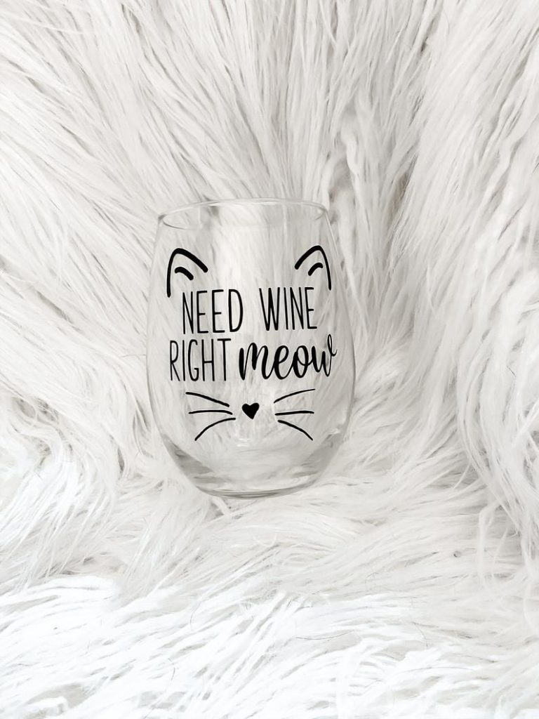 Cat Themed Wine Glass