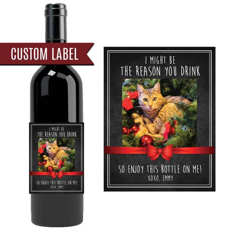 Christmas Wine Label for Cat Lovers