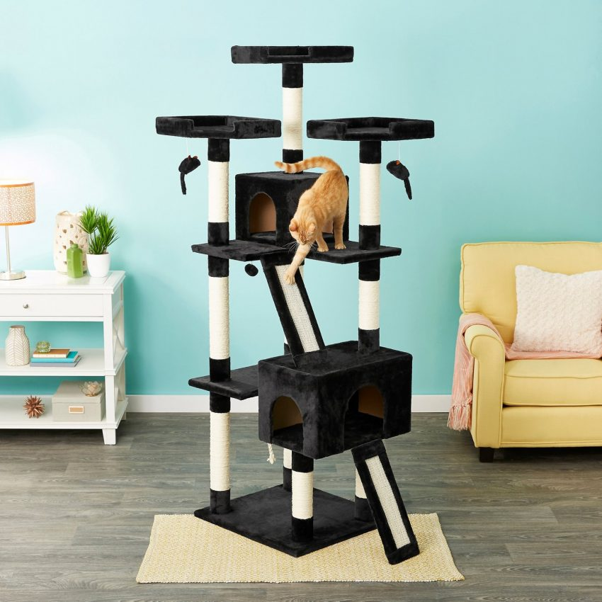 an orange tabby cat playing on a black and white cat tree