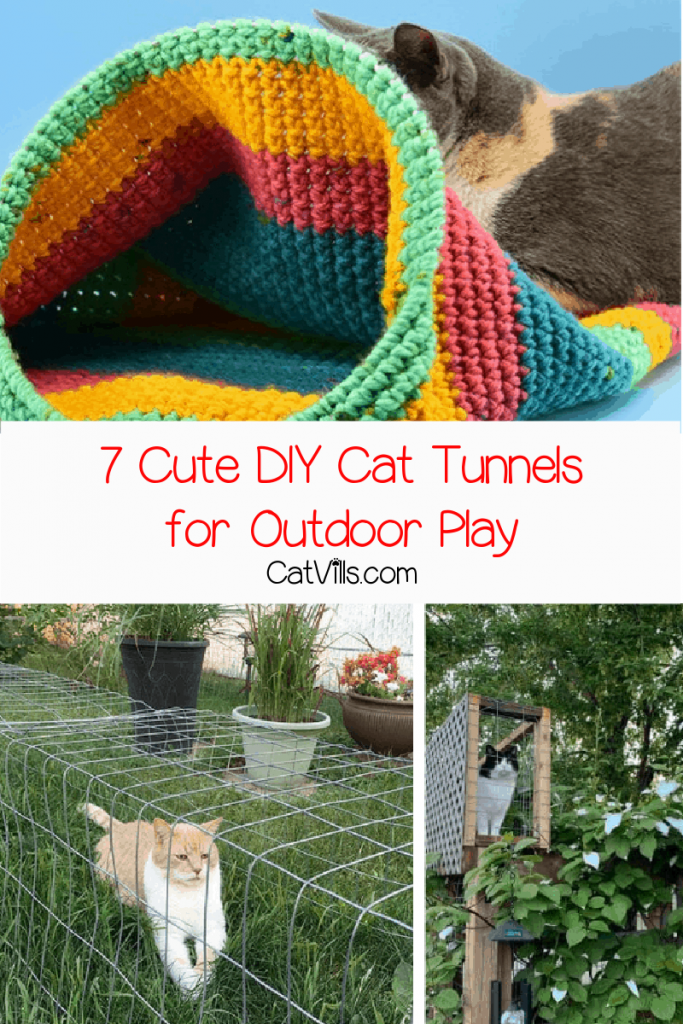 a collage of DIY cat tunnels