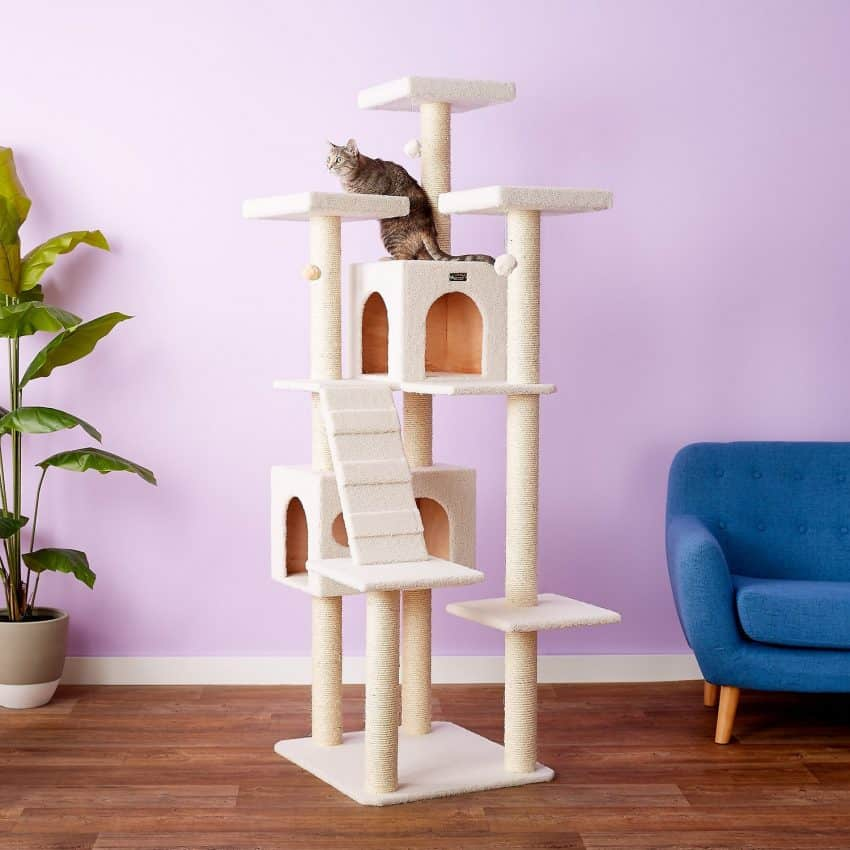 Armarkat 77-in Faux Fleece Cat Tree & Condo, Ivory By Armarkat